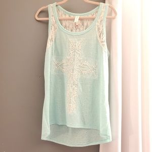 No Boundaries ~ Lace  cross flowy tank